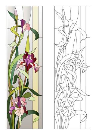 motif floral pour vitrail avec iris en fleurs
