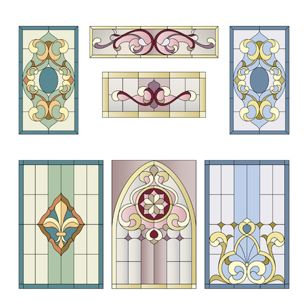 church interior: decorative elements for the stained glass in the classic style