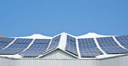 lightbeam: Solar panel with blue sky Stock Photo