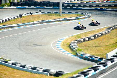 cornering: Go-cart racing at Thailand Stock Photo