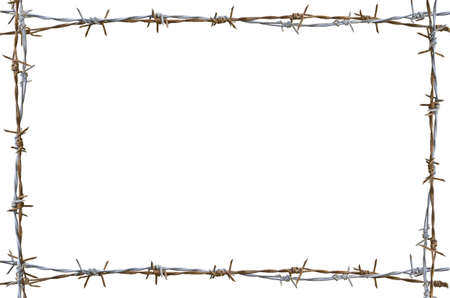 barbed wire fence: Frame Rusty barbed wire isolated on white