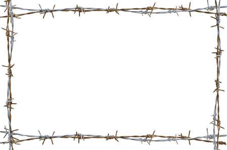 rusty: Marco de alambre de púas oxidado aislado en blanco