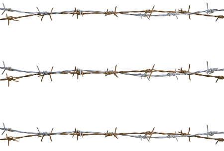 白で隔離される錆びた有刺鉄線