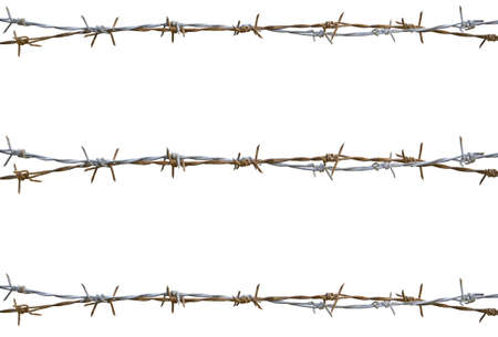 barbed wire isolated: Rusty barbed wire isolated on white Stock Photo