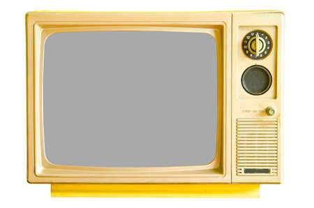Vintage analog television isolated on white background
