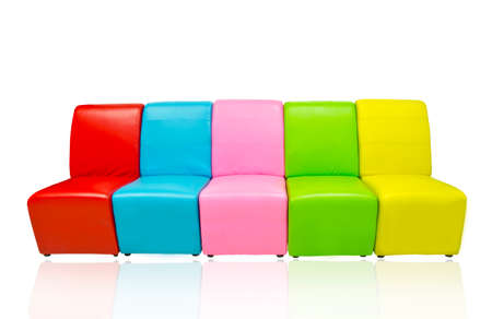 many color of leather sofa isolated on reflect white floor photo