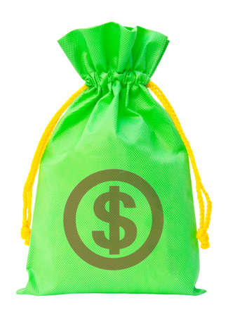 Green money bag with US dollar sign  photo