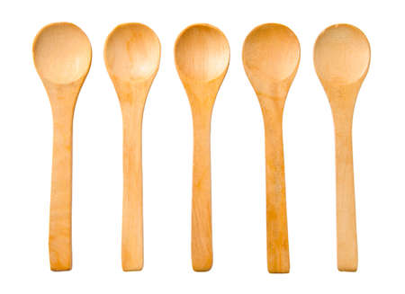 five wooden spoon isolated on white background, clipping path