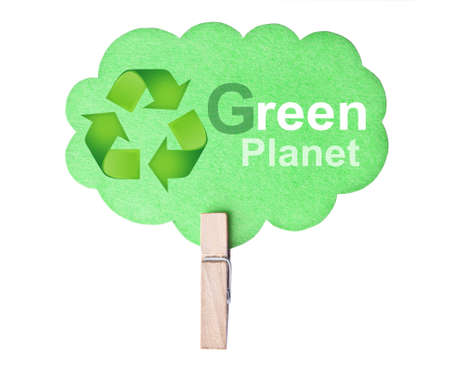 Eco friendly label. Green planet, isolated on white background, clipping path. photo