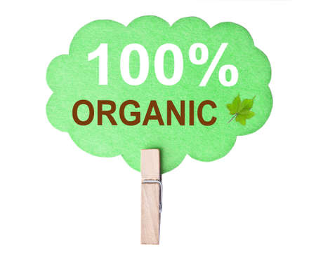 Eco friendly label. 100% organic, isolated on white background, clipping path. photo
