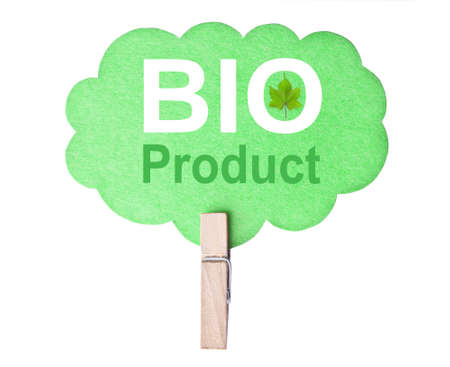 Eco friendly label. Bio product, isolated on white background, clipping path. photo
