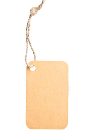 Blank tag tied with brown string isolated against a white background, clipping path photo