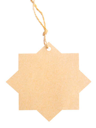 Blank tag tied with brown string isolated against a white background photo