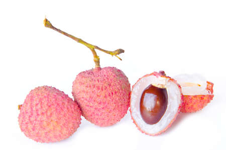 lichi: Lychee  Fresh lychees isolated on white background