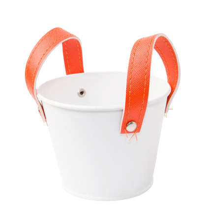 White plastic bucket. Product Packaging For other tool. photo
