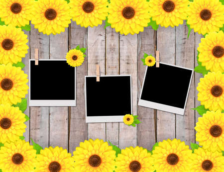 confines: Empty instant photos and sunflowers on old wooden texture Stock Photo