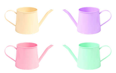 many color watering can isolated on white background, clipping path. photo