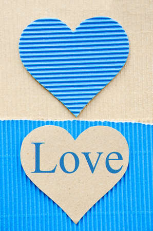 heart blue corrugated paper. recycle paper concept. LOVE photo
