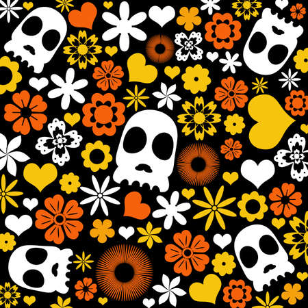 hostile: skull and flora pattern background. Holloween concept. Stock Photo