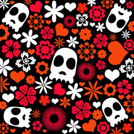 skull and flora pattern background. Holloween concept. Stock Photo