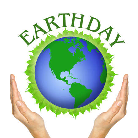 hands and globe on leaves and wording Earthday on white background.