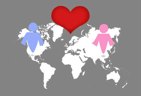 across: Man and woman symbol on world map. Love across concept. Stock Photo