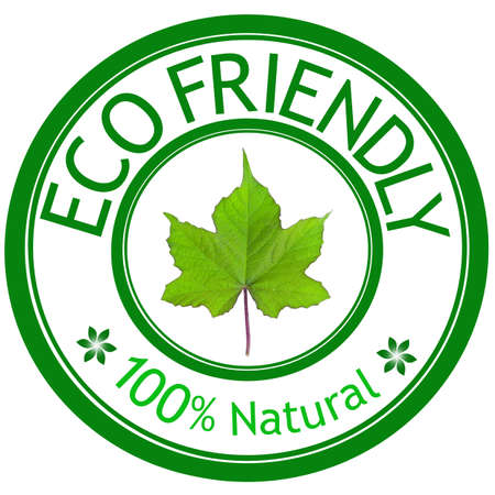 environmentalist label: Green leave and ECO FRIENDLY wording. Eco concept.