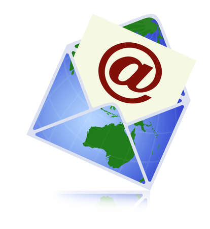 email contact: Web contact and business newsletter concept with an email