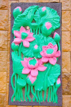 low relief: Low relief cement Thai style handcraft of buddhism