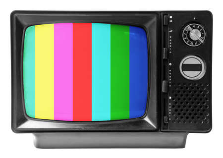vintage television: vintage television isolated on the white background Stock Photo