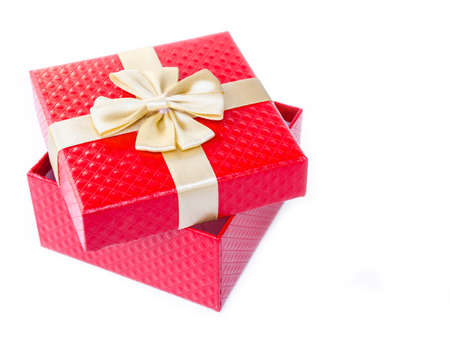 glod: Single red gift box with glod ribbon on white background.