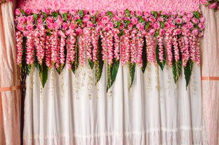 wedding backdrop: Beautiful pink rose flower wedding backdrop decoration