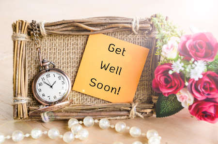 get well: Hand-made Get Well Soon greeting card with roses and pocket watch.