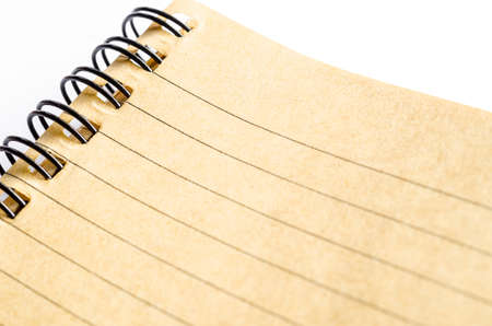 ruled paper: Close up of lined paper in brown diary made from paper recycle. Stock Photo