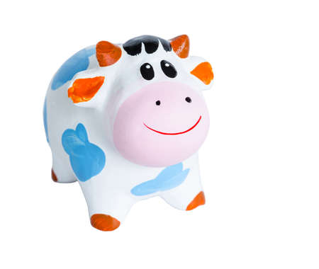 coin box: Baby Cow coin box isolated on white background