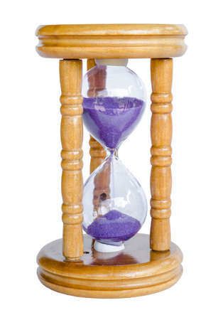 trickle: Wood hour-glass with violet sand. Isolated on white background, save clipping path.