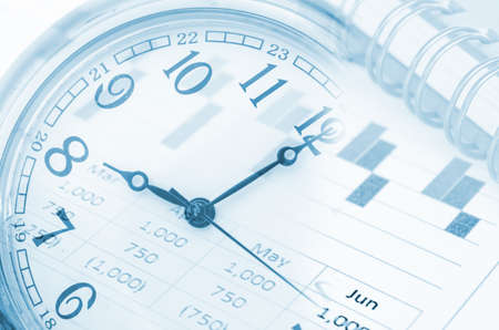 future technology and time management concept - clock, report graph and diary.
