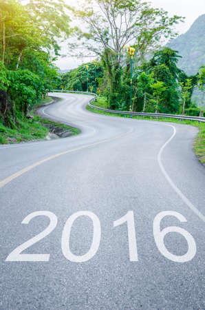s curve: 2016 on s curve road to the mountain. 2016 Goals concept. Stock Photo