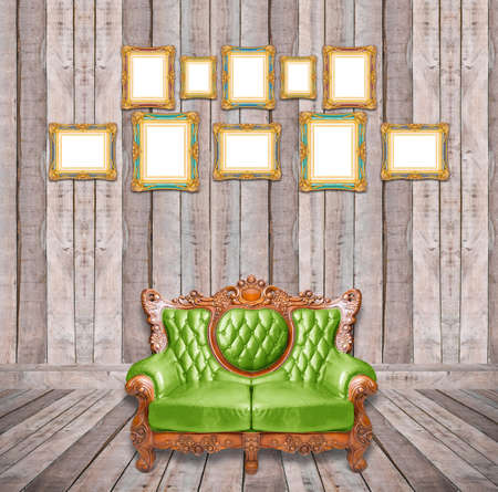 luxurious: Luxurious armchair and vintage frame in wooden room.