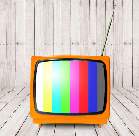 outmoded: room with oragne vintage TV. interior background.