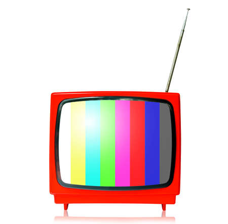 outmoded: Retro TV with color frame on white background.