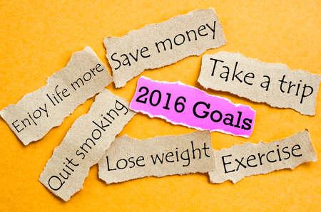 dinero: 2016 Goals. Piece of sheet pink and brown paper on a orange background Foto de archivo