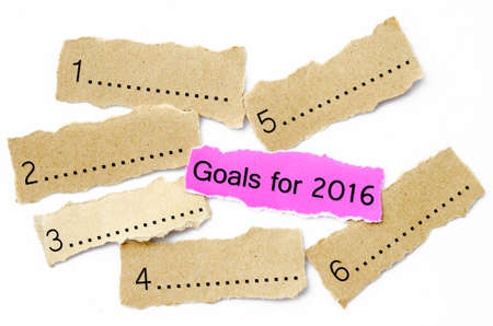 Goals For 2016, Concept on piece of sheet pink and brown paper on a white background