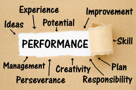 Key performance indicator (kpi) concept on torn paper background.