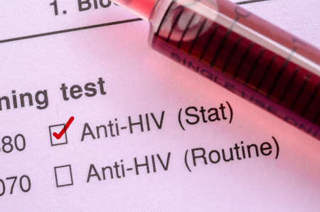immunize: Red correct check mark with blood sample in syringe for HIV test form request.