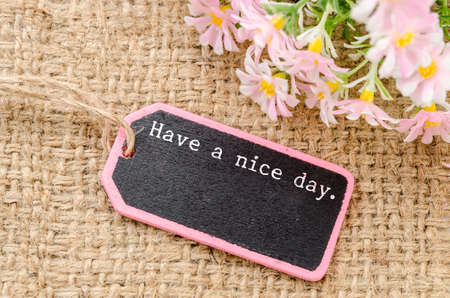 your text: Have a nice day on wooden tag and copy space for your text with flower on sack background.