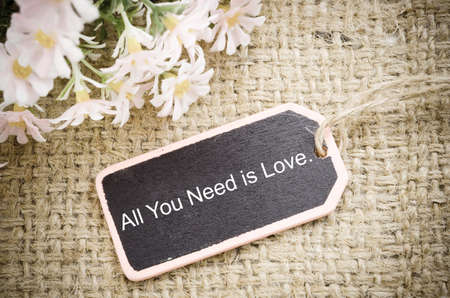 All you need is love vintage wood tag with flower on sack background.