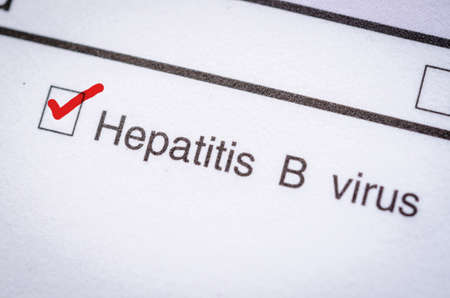b: Red Check Laboratory test, Hepatitis B form request. Stock Photo