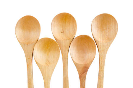 chiseled: Wooden Spoon isolated on white background save clipping path.
