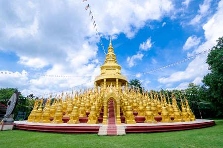 pa: Golden pagoda at Wat pa sawang boon temple , Saraburi , Thailand Stock Photo